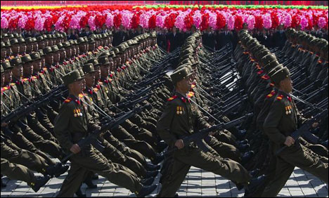 North Korea military parades through Pyongyang