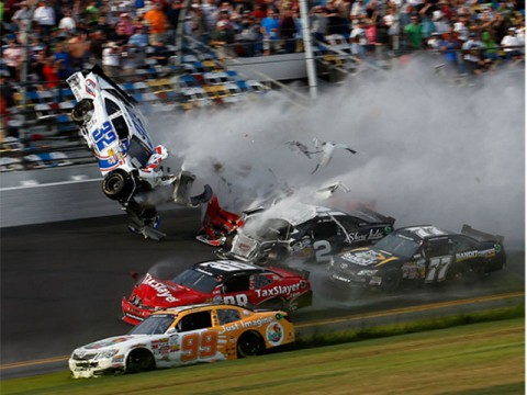 Fans hurt as crash mars NASCAR race