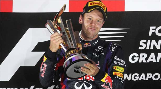 Sebastian Vettel brings up hat-trick of Singapore wins